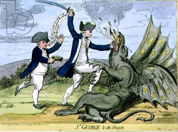 """""""St. George and the Dragon"""", caricature of Admiral George Brydges Rodney (1719-92) defeating the French off Dominica, pub. by Hannah Humphrey, 1782 (etching)"""