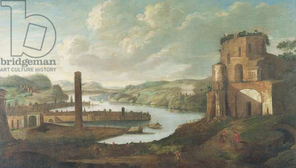 Port Scene (oil on canvas)