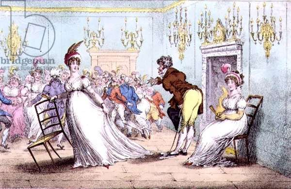 """""""A Broad Hint of Not Meaning to Dance"""", pub. by Hannah Humphrey, 1804 (etching)"""