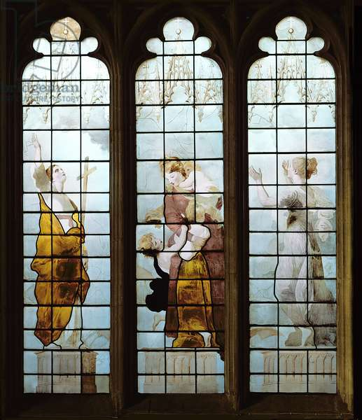 Three of the Seven Cardinal Virtues (stained glass) (detail of 394957)
