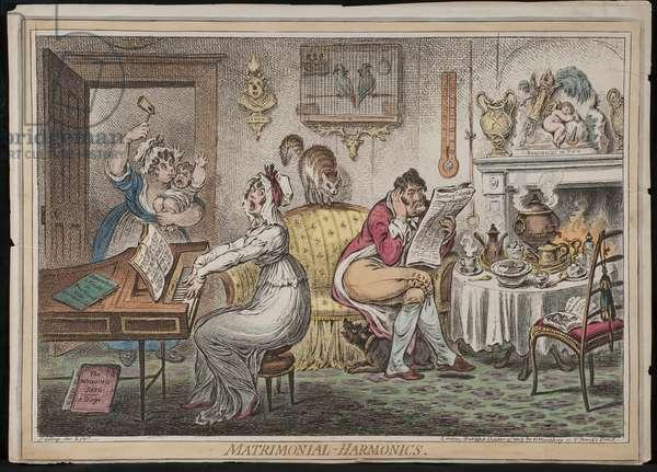 Matrimonial Harmonics, published by Hannah Humphrey, 1805 (hand-coloured etching)