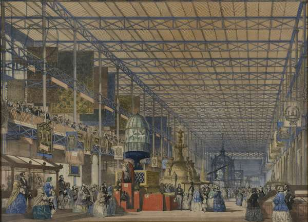 From 'Dickinson's Comprehensive Pictures of the Great Exhibition of 1851', published 1854 The Opening of the Great Exhibition - The British Nave, 1854 (coloured lithograph)
