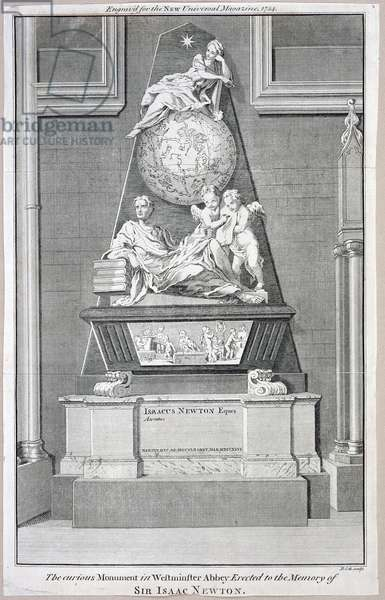 The curious Monument in Westminster Abbey Erected to the Memory of Sir Isaac Newton, 1754 (engraving)