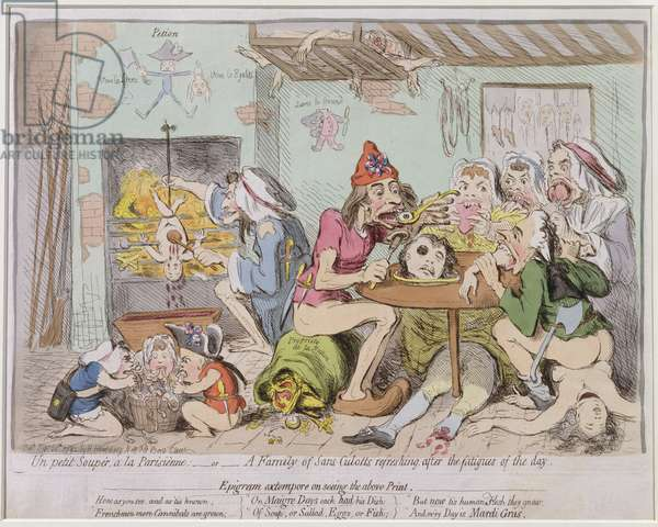 Un Petit Souper a la Parisienne, or A Family of Sans-Culottes Refreshing after the Fatigues of the Day, published by Hannah Humphrey in 1792 (hand-coloured etching)