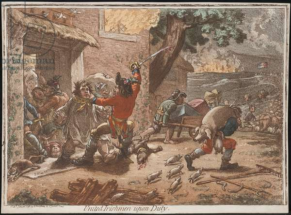 United Irishmen upon Duty, 1798 (coloured engraving)