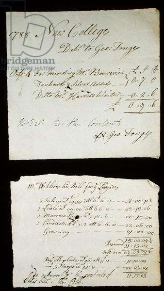 Receipt and Bill for silver supplied to New College in 1788 & 1712, by Oxford goldsmiths George Tonge and John Wilkins (pen & ink on paper)