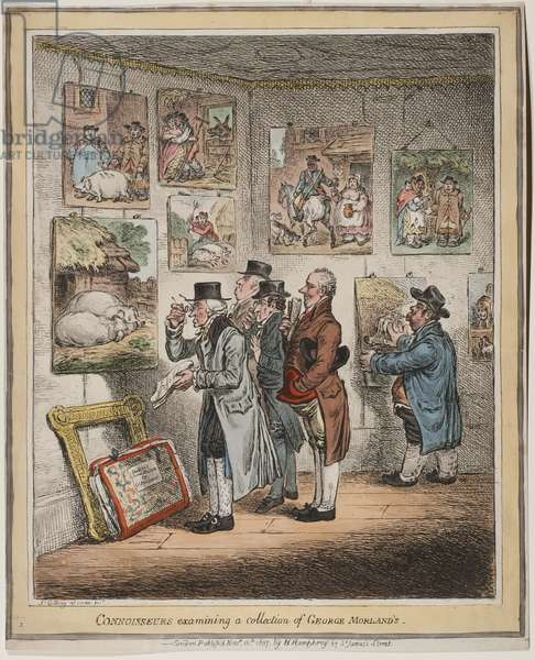 Connoisseurs examining a collection of George Morland's, published by Hannah humphrey, 1807 (hand-coloured etching)