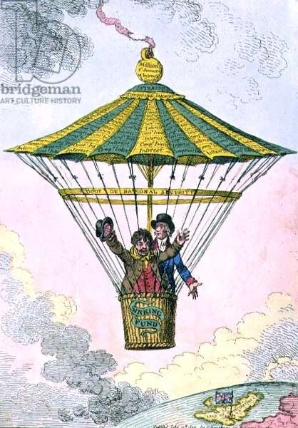 """""""The National Parachute, or John Bull Conducted to Plenty and Emancipation"""", pub. by Hannah Humphrey, 1802 (etching)"""
