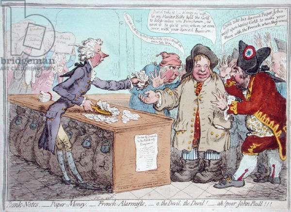 Opening of the Budget, or John Bull giving his breeches to save his Bacon, published by Hannah Humphrey in 1796 (hand-coloured etching)