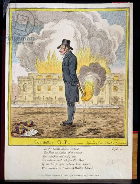 """""""Counsellor O.P., defender of our Theatric Liberties"""", showing the burning of Covent Garden Theatre, pub. by Hannah Humphrey, 1809 (etching)"""