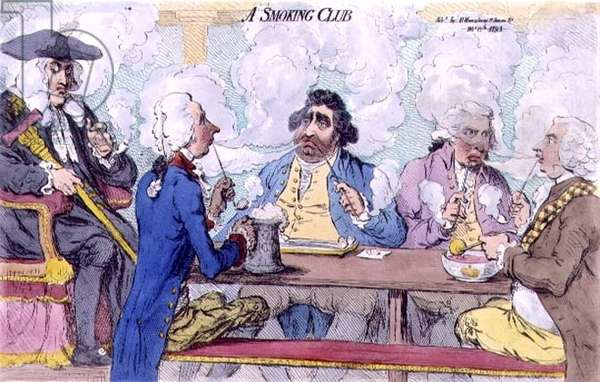 """""""A Smoking Club"""" including caricatures of William Pitt the Younger (1759-1806) Charles James Fox (1749-1806) and Richard Brinsley Sheridan (1751-1816) pub. by Hannah Humphrey, 1793 (etching)"""