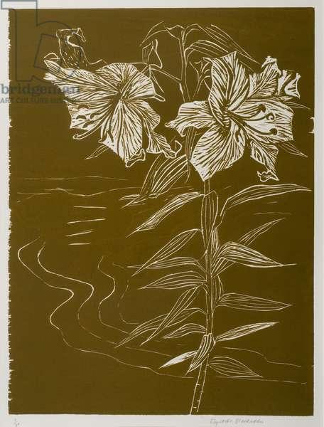 Lilies (woodcut)