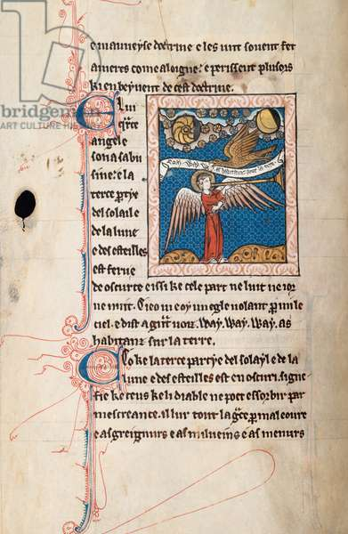 Ms65 f29v, Commentary on the Apocalypse of St John, late 13th century (pen & ink and tempera on vellum)