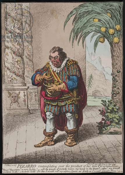 Pizarro contemplating over the product of his new Peruvian Mine, 1799 (coloured engraving)