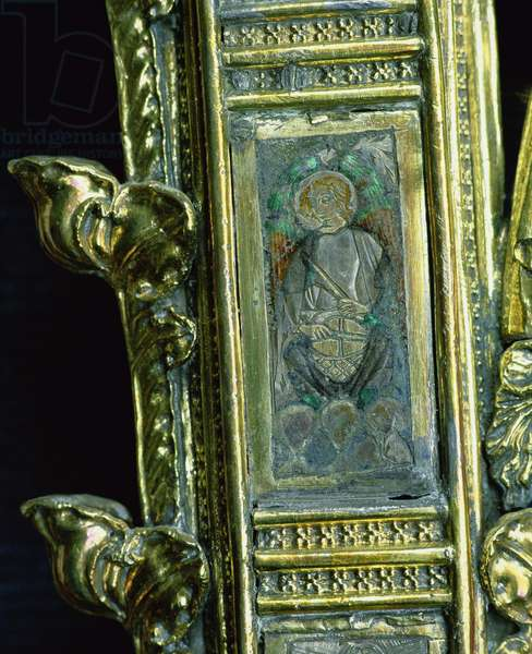 Angel playing a kettledrum, detail from the crozier of William of Wykeham (c.1320-1404) (silver gilt & champleve enamel) (see 205100-32)