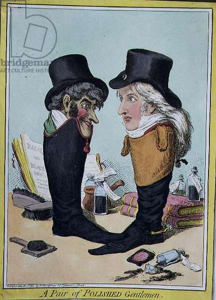 """""""A Pair of Polished Gentlemen"""", pub. by Hannah Humphrey, 1801 (etching)"""