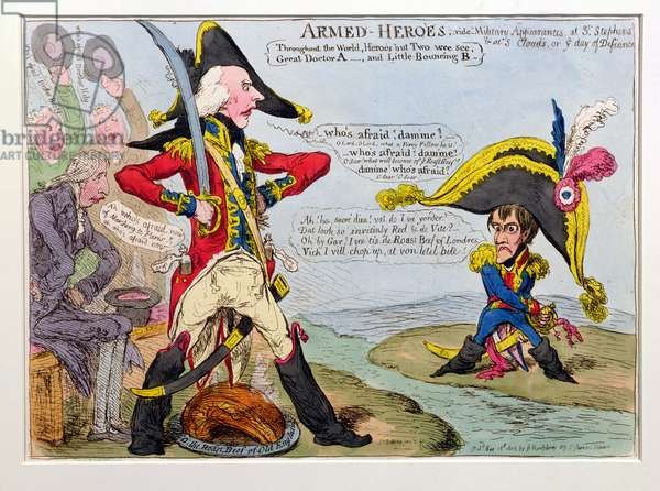 Armed Heroes, or Military Appearances at St. Stephen's & at St. Cloud's on the Day of Defiance, published by Hannah Humphrey in 1803 (hand-coloured etching)