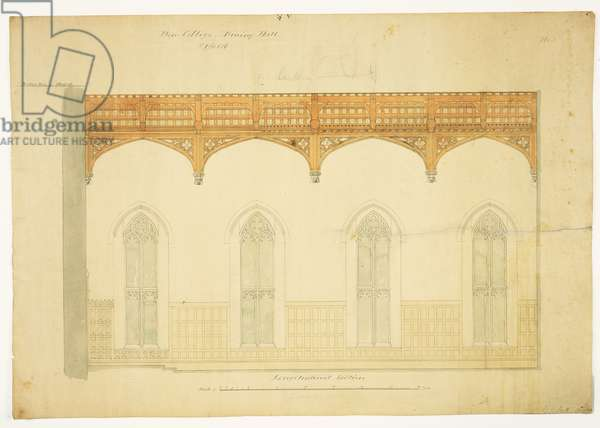 New College Oxford: Design for New Hall Roof, 1865 (pen and ink wash on paper)