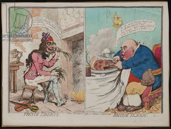 French Liberty; British Slavery, published by Hannah Humphrey, 1792 (hand-coloured etching)
