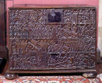 The Courtrai Chest, with front panel depicting Flemish foot soldiers defeating French cavalry, Flemish, 14th century (wood)