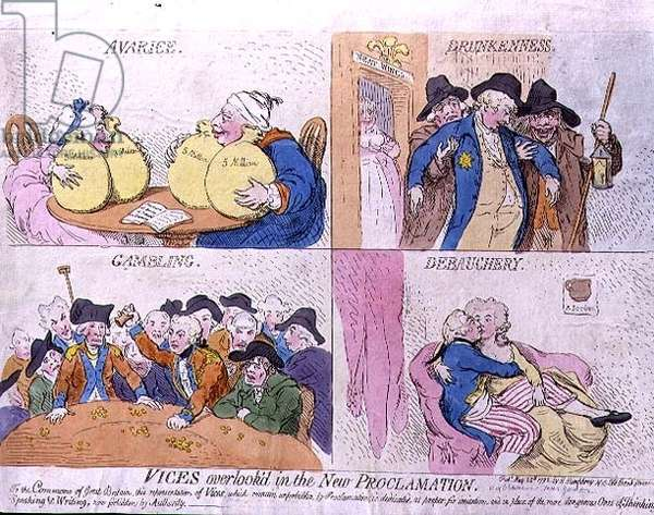 """""""Vices Overlook'd in the New Proclamation: Avarice, Drunkenness, Gambling and Debauchery"""" with caricatures of members of the Royal Family, pub. by Hannah Humphrey, 1792 (etching)"""