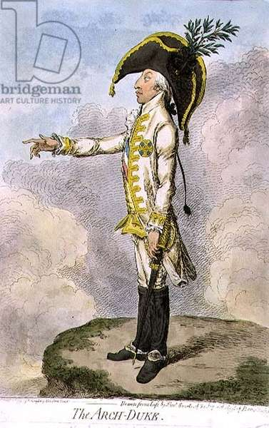 """""""The Arch Duke"""", a caricature of Charles, Archduke of Austria (1771-1847) pub. by Hannah Humphrey, 1795 (etching)"""