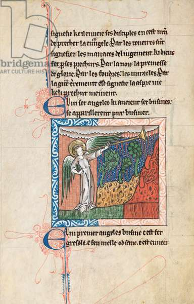 Ms65 f27v, Commentary on the Apocalypse of St John, late 13th century (pen & ink and tempera on vellum)