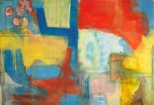 Abstract Expressionist in Red, Yellow and Blue (oil on canvas)