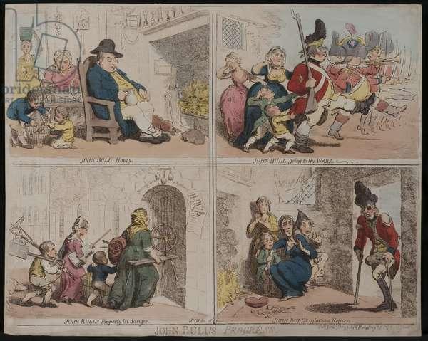 John Bull's Progress, 1793 (coloured engraving)