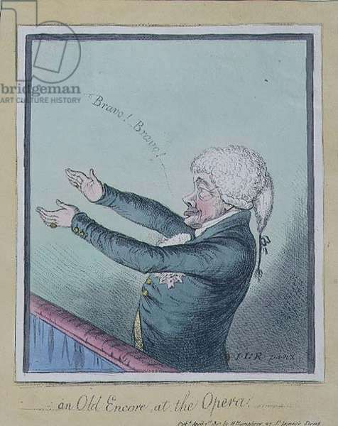 """""""An Old Encore at the Opera"""", pub. by Hannah Humphrey, 1803 (etching)"""