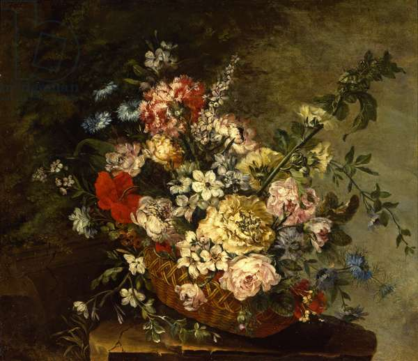 Still Life with Flowers in a Basket, c.1780-1790 (oil on canvas)
