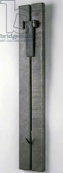 Untitled, 1964 (lead over composition board, with steel spring, hook, wire, and nails)
