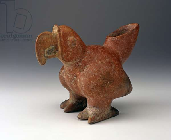 Parrot Effigy Vessel, c.200 BC - 300 C.E. (ceramic with red slip paint)