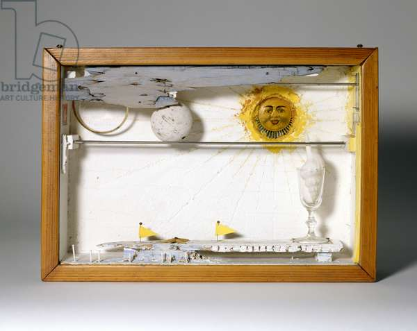 Suzy's Sun (for Judy Tyler), 1957 (box construction: including wood, glass, plastic, metal, tempera, cork, seashell, paper)