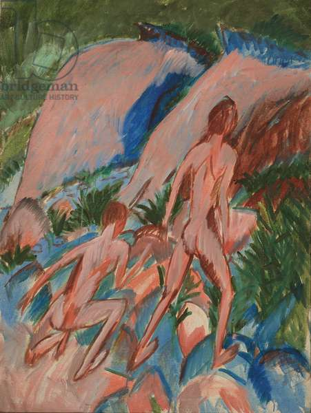 Two Nude Figures in a Landscape, 1913 (oil with small additions of wax on canvas)