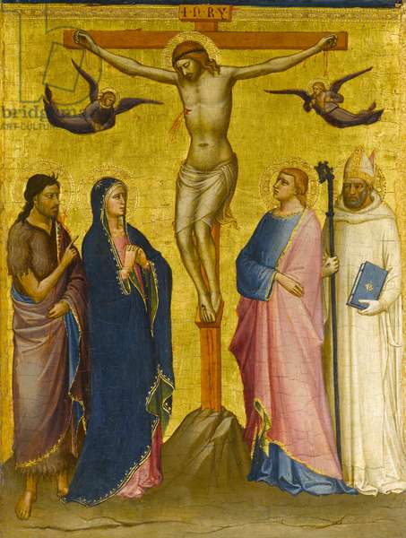 The Crucifixion with St. John the Baptist, the Virgin, St. John the Evangelist, and a Carthusian Saint, c.1385-1390 (tempera and gold leaf on panel)