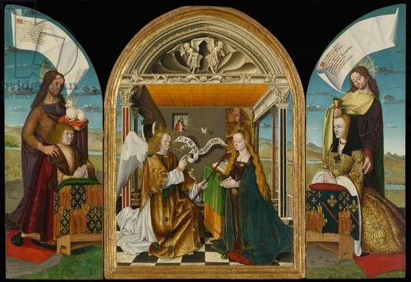 The Annunciation with Saints and Donors, called The Latour d'Auvergne Triptych, c.1497 (tempera and oil on panel)