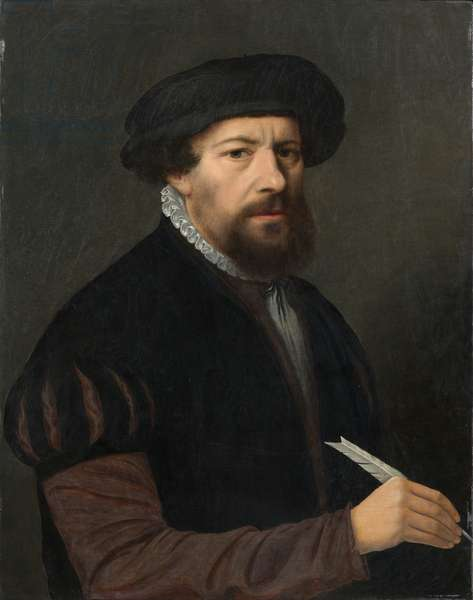 Man with a Quill, 16th century (oil on panel)