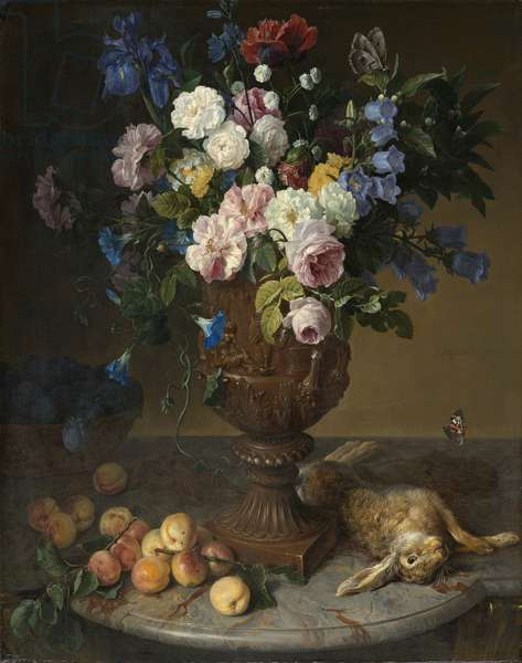 Urn of Flowers with Fruits and Hare, 1715 (oil on canvas)