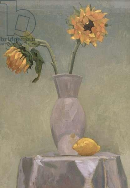 Sunflowers and Lemon (oil on canvas)