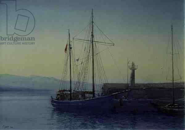 Sailing Boat, Spetse, 1998 (w/c and pastel on handmade paper)