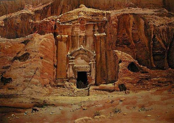 Renaissance Tomb, Petra, Jordan, 1984 (w/c & pastel on handmade paper)