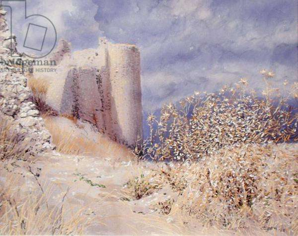 Fortress at Larissa, Argos, Thessaly, 1998 (w/c and pastel on handmade paper)