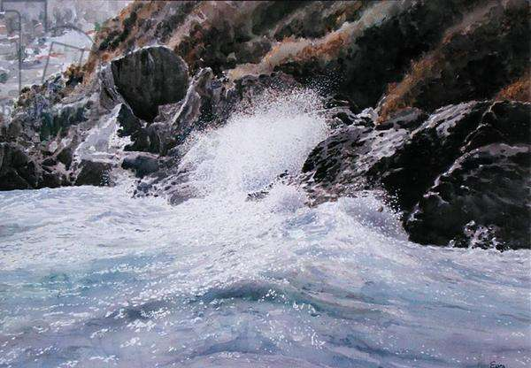 Rocky Shore, Assini, 2000 (w/c and pastel on handmade paper)