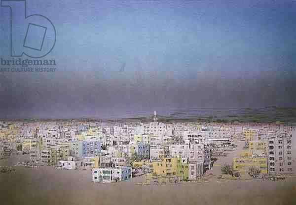 View of Amman, Jordan, 1984 (w/c and pastel on handmade paper)