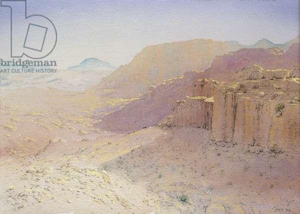 Wadi Turkamaniya, Petra, Jordan, 1984 (w/c and pastel on handmade paper)