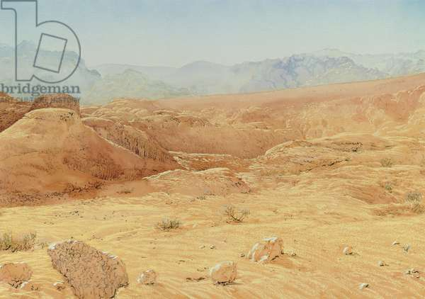 Beida Tract, Petra, Jordan, 1984 (w/c and pastel on handmade paper)