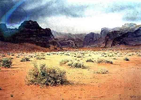 Stormy Day, Wadi Rum, Jordan, 1984 (w/c & pastel on handmade paper)