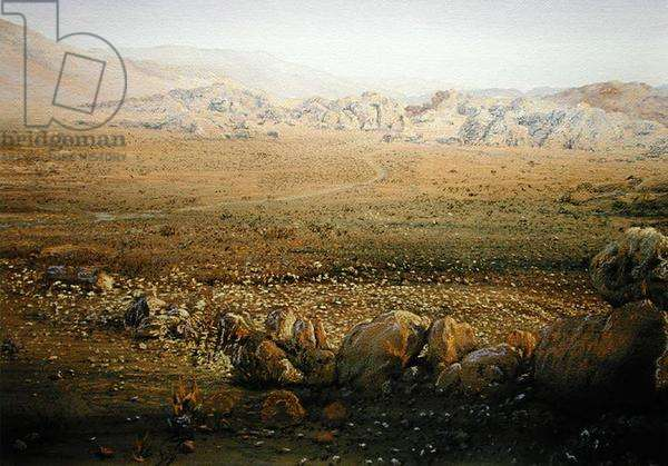 The Old Spice Road, near Beida, Jordan, 1984 (w/c and pastel on handmade paper)