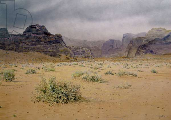 Stormy Day in the Wadi Rum, Jordan, 1986 (w/c and pastel on handmade paper)
